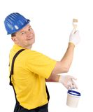 Worker with brush and bucket Royalty Free Stock Image