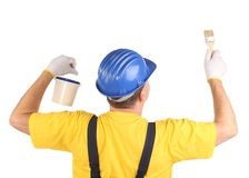 Worker with brush and bucket Royalty Free Stock Images