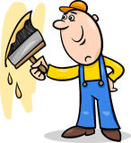 Worker with brush cartoon illustration Royalty Free Stock Photo