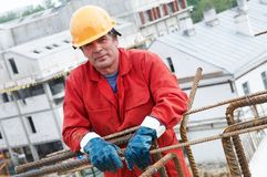 Worker builder at construction site Stock Images