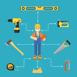Worker builder in uniform and helmet. Building concept with hand tools icons and worker in uniform and helmet vector illustration. Building tools for carpentry Stock Photos