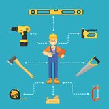 Worker builder in uniform and helmet. Building concept with hand tools icons and worker in uniform and helmet illustration. Building tools for carpentry and home Royalty Free Stock Photo
