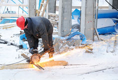 Worker at building construction Royalty Free Stock Photography