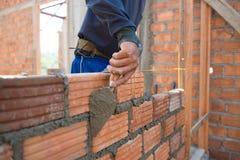 Worker building masonry house wal Royalty Free Stock Photos