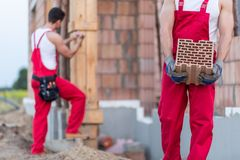 Worker building masonry Stock Image