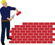Worker building wall. A worker building wall made from red bricks Royalty Free Stock Image