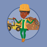 Worker and bulldozer at rubbish dump. African-american worker of rubbish dump standing with spread arms. Woman standing on the background of rubbish dump and Royalty Free Stock Images