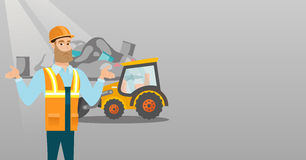 Worker and bulldozer at rubbish dump. Worker of rubbish dump standing with spread arms. Man standing on the background of rubbish dump and bulldozer. Caucasian Stock Photography