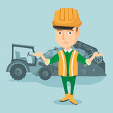Worker and bulldozer at rubbish dump. Worker of rubbish dump standing with spread arms. Man standing on the background of rubbish dump and bulldozer. Upset Royalty Free Stock Photo
