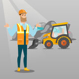 Worker and bulldozer at rubbish dump. Worker of rubbish dump standing with spread arms. Man standing on the background of rubbish dump and bulldozer. Upset Stock Image
