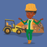 Worker and bulldozer at rubbish dump. Worker of rubbish dump standing with spread arms. Woman standing on the background of rubbish dump and bulldozer. An Stock Images