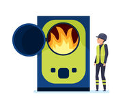 Worker burns garbage in special oven, sorts garbage and recycles. Worker burns garbage in a special oven, sorts garbage and recycles. Cleaning city. Household Royalty Free Stock Photos