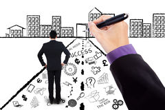 Worker with business doodles and success door Royalty Free Stock Photography