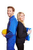 Worker and business woman Royalty Free Stock Photos