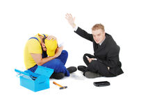 Worker and businessman Royalty Free Stock Photography