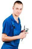Worker with caliper. Worker in uniform with caliper and drill tool isolated stock images