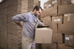 Worker carrying box in warehouse Royalty Free Stock Photos