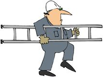 Worker Carrying A Ladder vector illustration