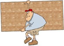 Worker carrying plywood stock illustration