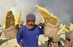 Worker carrying sulfur inside Kawah Ijen crater. Indonesia Royalty Free Stock Photo