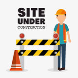 Worker cartoon site under construction Stock Images