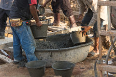 Worker. Casting concrete at construction site Stock Photography