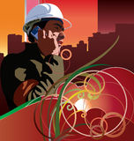 Worker on cel phone Royalty Free Stock Photos