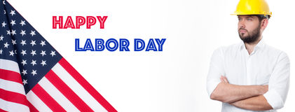 Worker celebration on labor day.  American flag. Happy Labor Day. USA flag. American holiday. Worker celebration on labor day Royalty Free Stock Photography