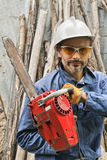 Worker with a chainsaw Royalty Free Stock Photography