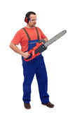 Worker with chainsaw Stock Photography