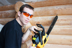 Worker with chainsaw Stock Photos
