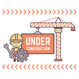 Worker character with message under construction. Worker character display message under construction Royalty Free Stock Image
