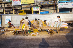 Worker at Chawri Bazaar have a rest Stock Photos