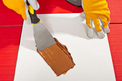 Worker check mixing grout Stock Photography
