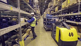 Worker checking cargo in warehouse