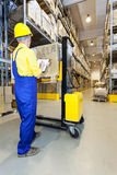 Worker checking products in warehouse Stock Images