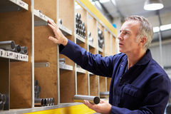Worker Checking Stock Levels In Store Room Royalty Free Stock Image