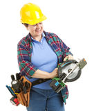 Worker with Circular Saw Stock Images