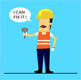 Worker Civil Flat Design. For website, marketing, public advertaising Stock Image