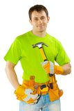 Worker with claw hammer Royalty Free Stock Image