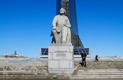 Worker clean with a pressure washer the monument to the founder of cosmonautics Konstantin Tsiolkovsky in Moscow. Royalty Free Stock Images