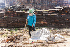 Worker clean the temple area Stock Image