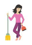 Worker of Cleaning Company with Dustpan and Broom. Royalty Free Stock Image