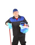 Worker with cleaning equipment. Stock Photo