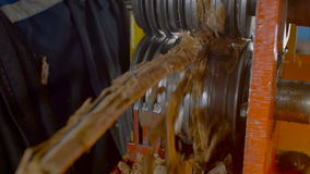 Worker Cleaning Metal Wire from Waste stock video