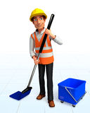 Worker with cleaning mobs Stock Photography