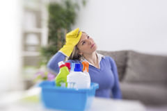 Worker from cleaning service is tired Stock Photos
