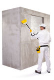 Worker cleaning the surface dust Royalty Free Stock Photo