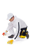 Worker cleans with a sponge Royalty Free Stock Photography