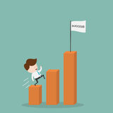 Worker climbs up chart. Royalty Free Stock Photo